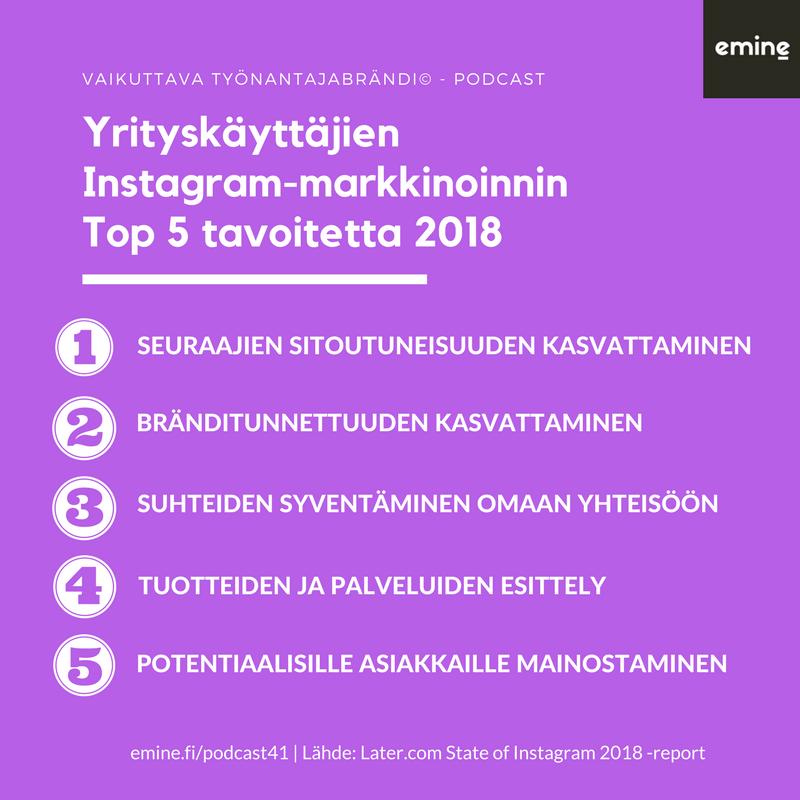 Instagram-markkinoinnin Top 5 -tavoitetta vuonna 2018