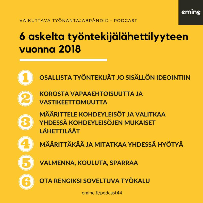 Työntekijälähettilyys - 6 askelta vuonna 2018 - Emine, Susanna Rantanen