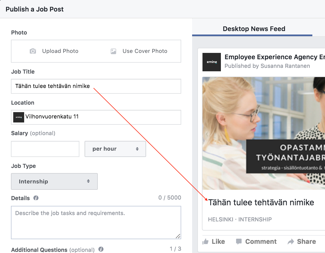 Facebook Jobs Eminen blogi