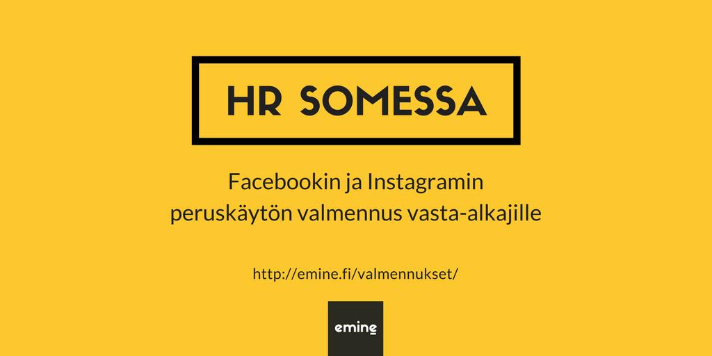 HR somessa valmennukset Facebookiin ja Instagramiin