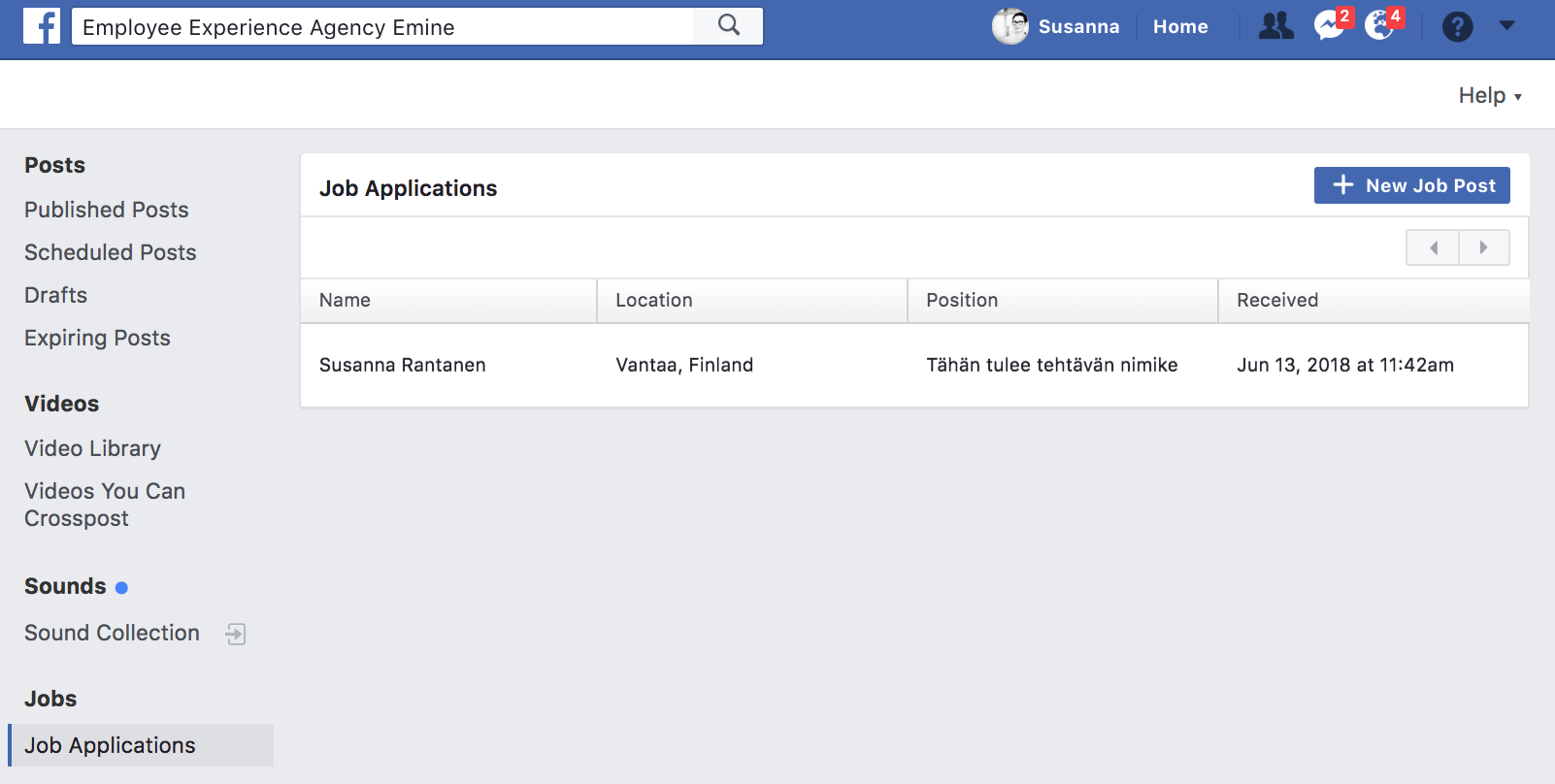 Facebook Jobs Eminen vinkit