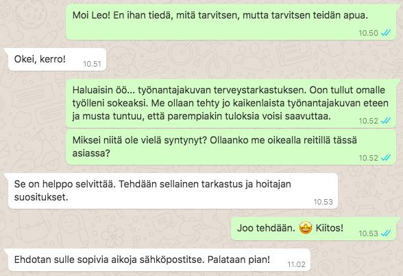 Whatsapp-keskustelu Eminen Työnantajakuvan Terveystarkastuksesta
