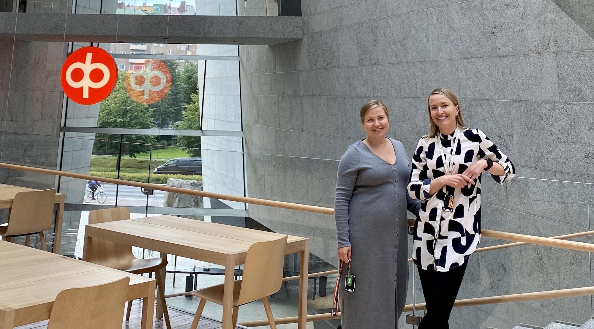 OP:n Roosa Kosonen ja Anri Helokangas kehittävät OP:n teknologiaorganisaation työnantajakuvaa