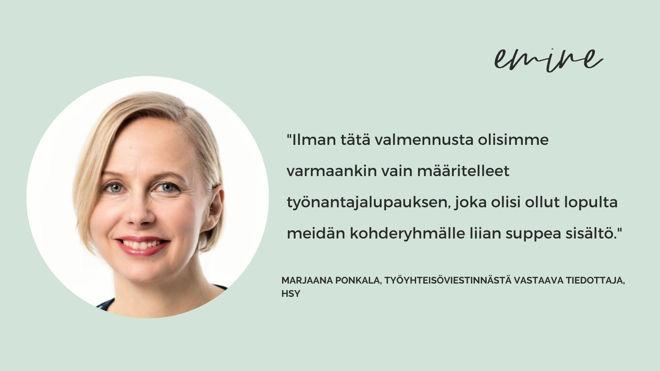 HSY ryhtyi kehittämään työnantajakuvaa Eminen Vaikuttava Työnantajabrändi -konseptilla